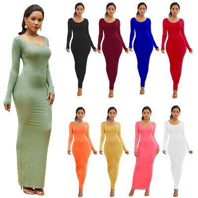 Women Long Sleeve Bodycon Stretch Maxi Dress Evening Club Slim Pencil Dresses