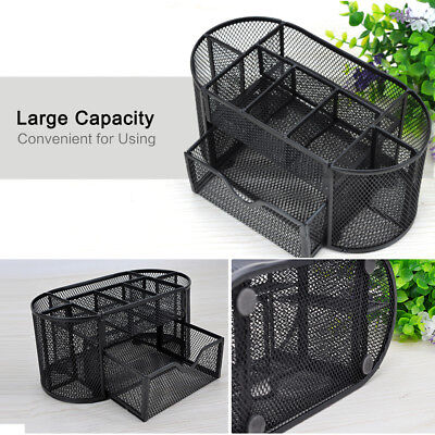 Desk Office Table Organizer Supplies Pen Pencil Holder Storage Mesh Metal Black