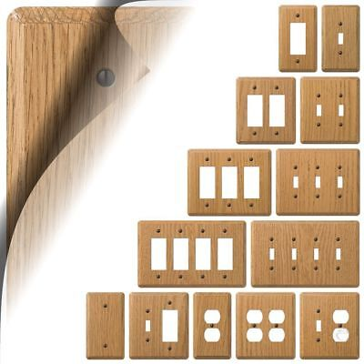 Switch Plate (Light Oak Wood Switch Plate Cover Contemporary Outlet Rocker Toggle Duplex GFI )