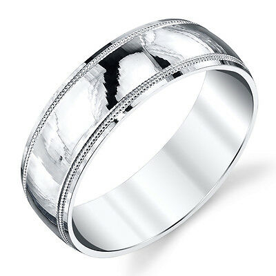 925 Sterling Silver Mens Wedding Band Ring Milgrain Comfort Fit Classic Plain (Classic Milgrain Wedding Band)