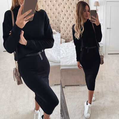 2PCS Womens Knitted Sweater High Neck Long Sleeve Tops Pencil Skirts Black Suits