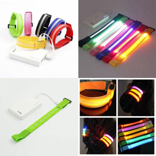 USB Chargeable LED Flashing Strap Night Running Safe Reflective Belt Arm Band