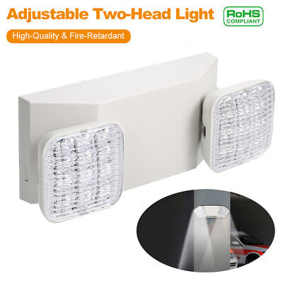 Led Emergency Exit Light Battery Backup Adjustable Two Round Heads Ul-listed