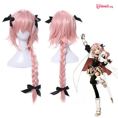FGO Fate Apocrypha Astolfo Long Braided Ponytail Bowknot Party Wigs Cosplay - Ponytail Wig