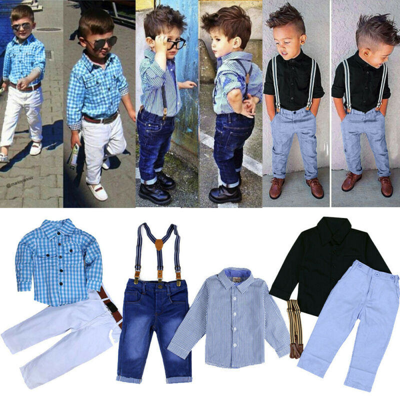 US 2pcs Toddler Kids Baby Boy Clothes Shirt Tops+Denim Jeans