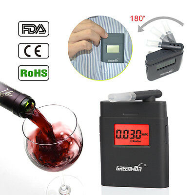 Digital Breath Alcohol Analyzer Tester breathalyzer with 5 mouthpiece
