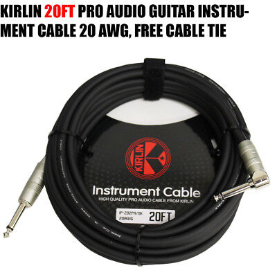 Cable Tie 2 PACK Kirlin 20FT Electric Guitar Instrument Cable GREEN 7mm 20 AWG