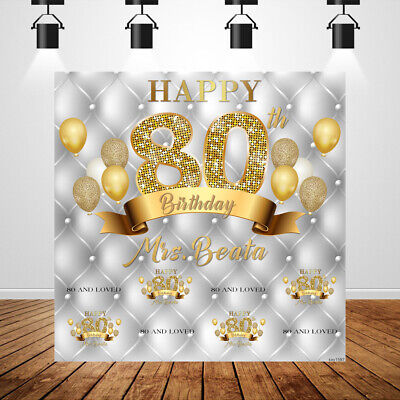 Custom Photo Booth Backdrop (Gold 80th Birthday Party Backdrop Silver Tufted Custom Name Photobooth)