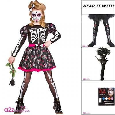 Girls Skull Day of the Dead Halloween Kids Fancy Dress Costume Tights Make-Up - Dead Girl Halloween Makeup