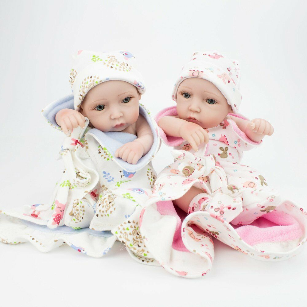 "Lifelike Twins Baby Dolls Full Vinyl Silicone Real Life Doll Babies Girl Boy 10/"""