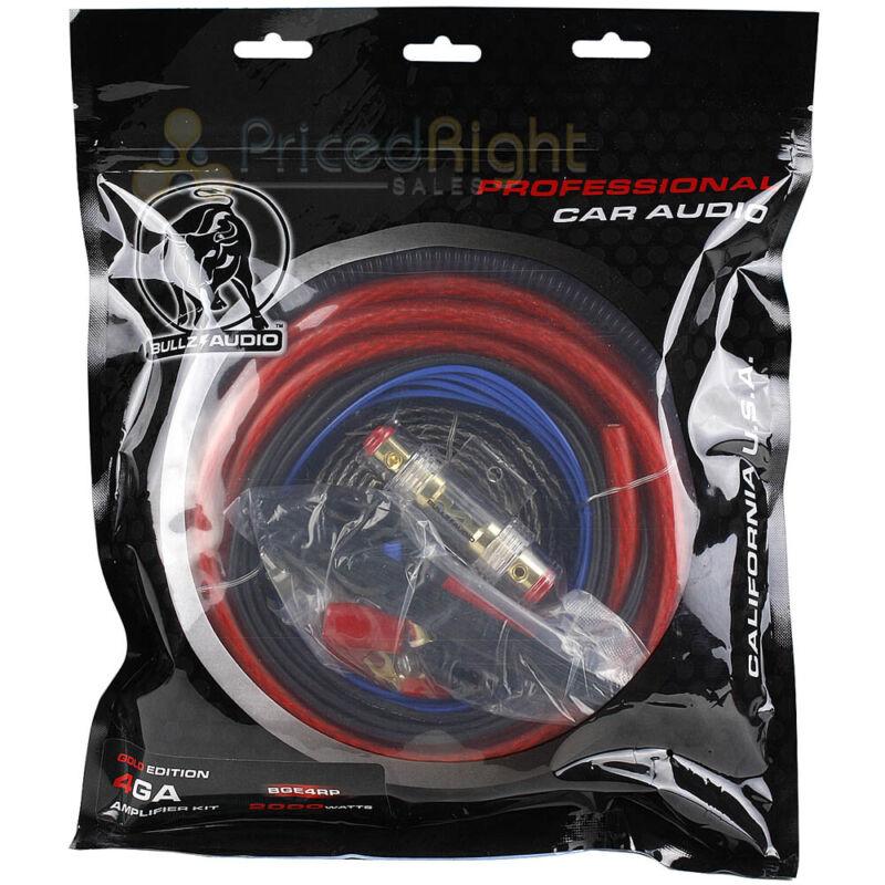 Bullz Audio 4 Gauge Car Sub AMP Amplifier Power Wiring Install Kit BGE4RP