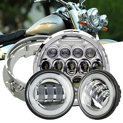 "Daymaker 7"" LED Headlight+Passing Lamps + Ring Mount for Harley Touring Silver"