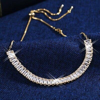 Jewellery - Thick 18K Yellow Gold GF Baguette Diamond Channel-Set Adjustable Choker Necklace