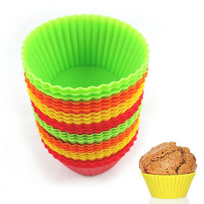 12 Silicone Cupcake Liner Holders Bake Muffin ...