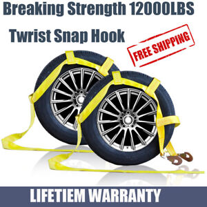 Car Dolly Wheel Net Tire Basket Tow Strap Snap Hook Heavy Duty Set of 2 Yellow