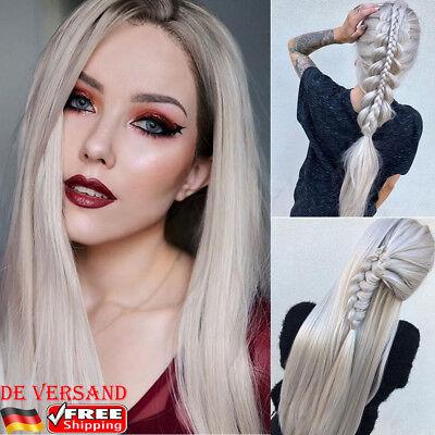 latt Langhaarperücke Weiß Haarteile Blonde Rose Silber Wig (Lange, Weiße Perücke)