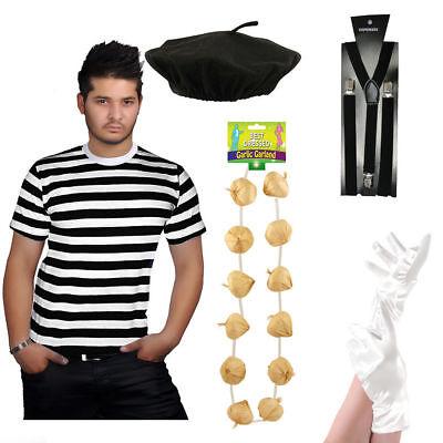 New Men's French Man Mime Artist Fancy Dress T-Shirt Beret Braces Gloves (Mime Kostüm Shirt)