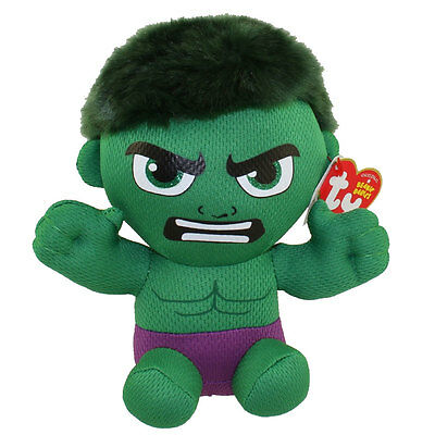 "Ty Beanie Baby Avengers 6"" HULK (Marvel) New w/ Heart Tags MWMT's New 2016!"