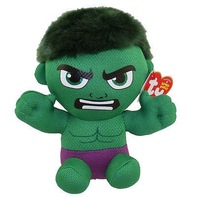 "Ty Beanie Baby Avengers 6"" HULK (Marvel) New w/ Heart Tags MWMT's New 2016!"