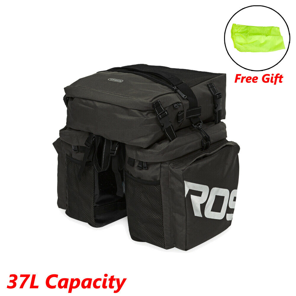 Waterproof Bike Bicycle Back Seat Bag w/Cover Cycling Pannier Rack Tail Storage Bags & Panniers