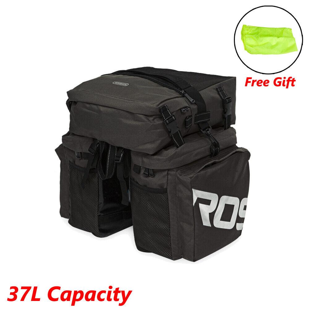 Waterproof Bike Bicycle Back Seat Bag w/Cover Cycling Pannier Rack Tail Storage Bags & Panniers