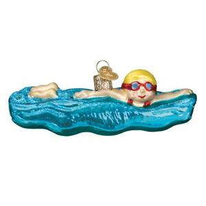 SWIMMING SWIMMER AQUATICS SWIM OLD WORLD CHRISTMAS GLASS ORNAMENT NWT 44130