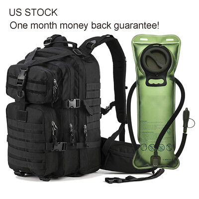 33L Outdoor EDC Tactical Backpack Military Bag with 2.5L Hydration Water Bladder