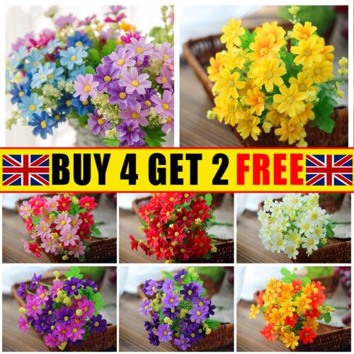 Home Decoration - 28 Heads Silk Daisy Artificial Flowers Bunch Bouquet Wedding Home Party Decor UK