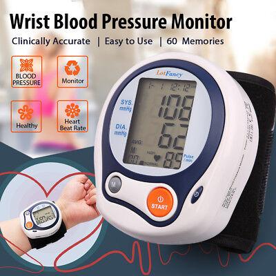 Digital Wrist High Blood Pressure Monitor BP Cuff Sensor Machine Gauge Tester