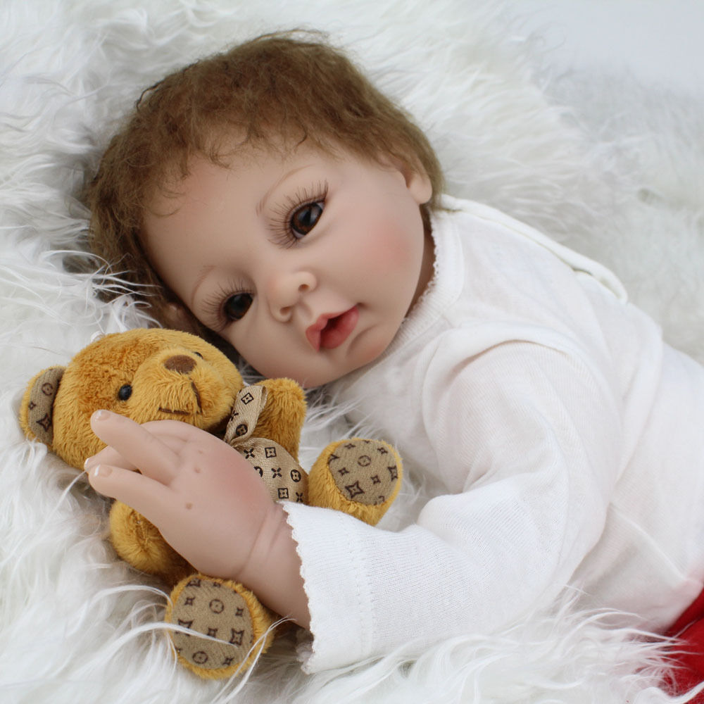 Handmade Reborn Newborn Dolls Gift 22inch Lifelike Soft Vinyl Silicone Baby Doll