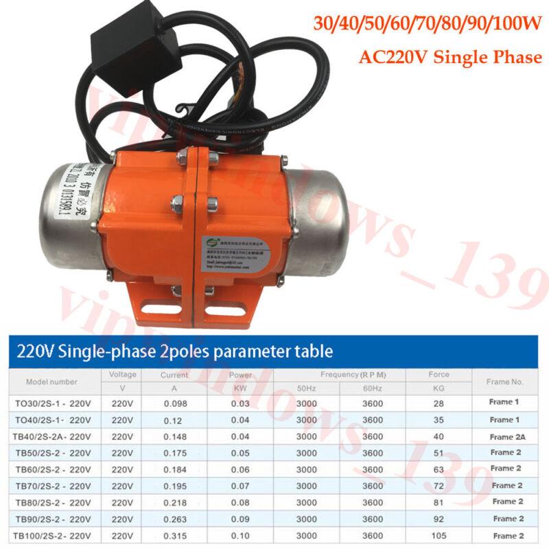 New AC 220V Vibration Vibrator 30-100W 1ph Vibrating Asynchronous Motor 3600RPM
