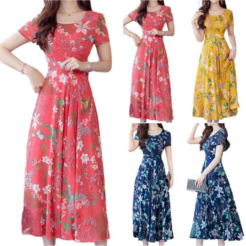 Women Floral Maxi Dress Short Sleeve Ladies Summer Party Gown Swing Long Dresses Clothing, Shoes & Accessories