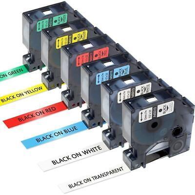 45013 6 Pk Label Tape Compatible Dymo D1 Label Maker 45010 16 17 18 45019 12mm