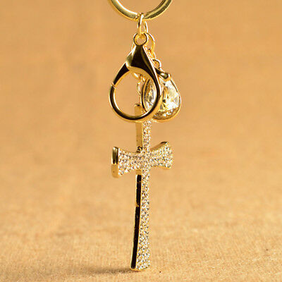 Rhinestone Alloy Cross Keychain Key Holder Crystal Keyring Handbag Pendant - Cross Key Chains