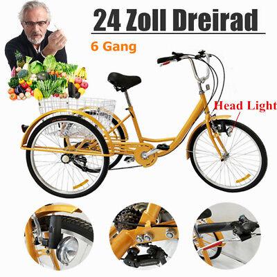 Triciclo de 24 pulgadas y canasta, 6 engranajes, para adultos ancianos, 3...