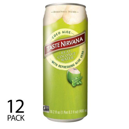 Taste Nirvana All Natural Real Coco Aloe   12 x 16 oz BPA free cans