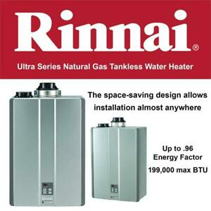 NEW Rinnai RUC98iN Ultra Series Natural Gas Tankless Water Heater, Concentric/Twin Pipe Installation Condtion: New, S...