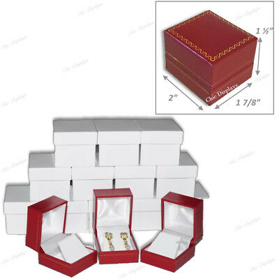 Lots Red Earring Boxes Red Pendant Boxes Luxury Red Jewelry Boxes Set Of 15 Box
