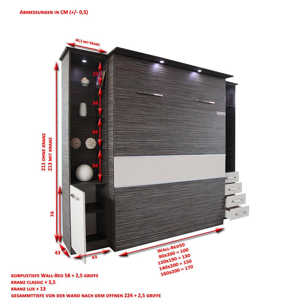 schrankbett wandbett klappbett 50 w 3 140x200 cm holz zebrano mit module eur. Black Bedroom Furniture Sets. Home Design Ideas