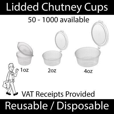 Clear Plastic Chutney Cups Hinge Lids Sauce Pots Deli Condiment Reusable 1/2/4oz