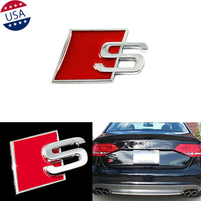 S Line 3D S Silver Red Emblem Rear Trunk Lid Badge Decal Trim For Audi A4 A6 Q5