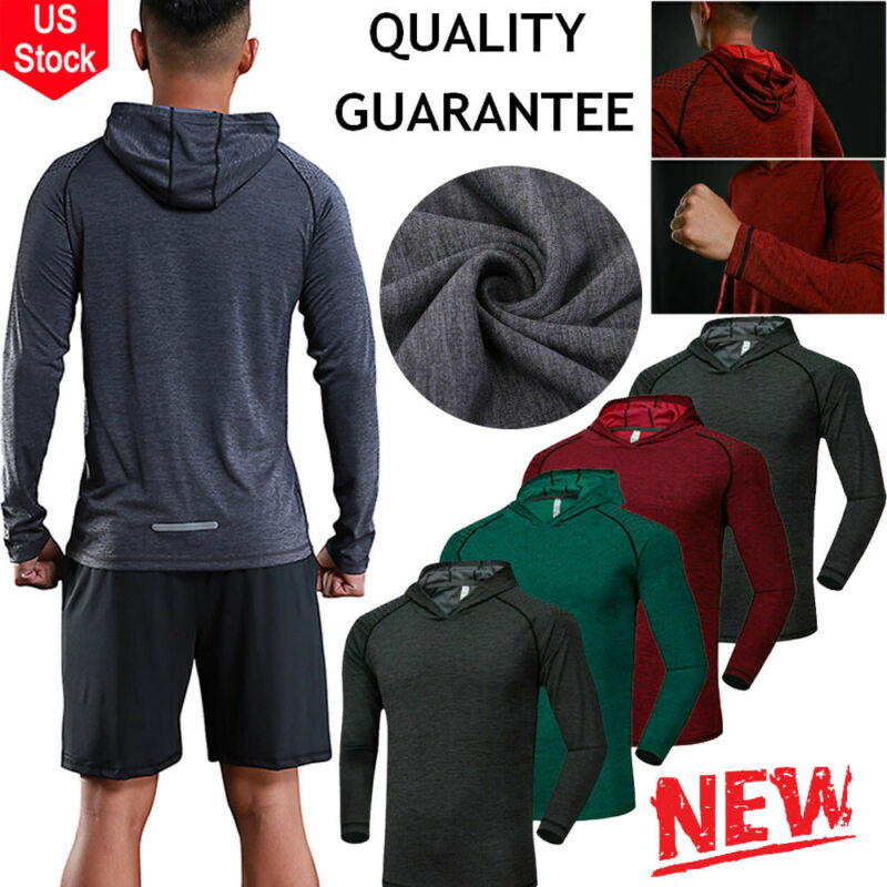 Men Gym Casual Hooded Sweatshirts  Pullover Long-sleeve T-shirt Workwear Tops Us