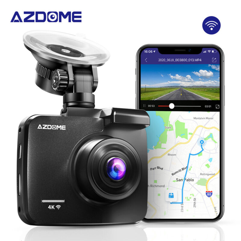 AZDOME 4K Ultra HD 2160P 4K Car Dash Cam Built-In WiFi & GPS, Night Vision