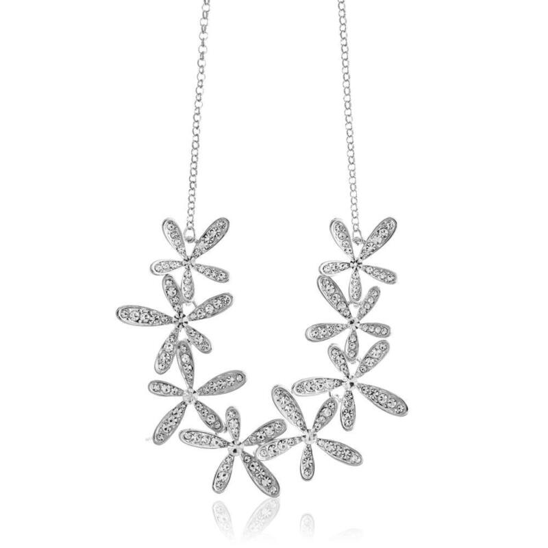 Rhodium Plated Necklace w/ Flowers & 12