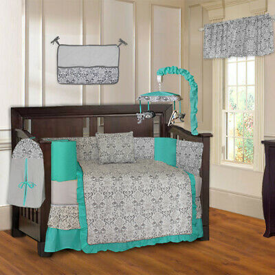 BabyFad 10 Piece Damask Turquoise Baby Crib Bedding set