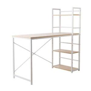 Hendon Desk with Shelves - White with Oak Top (Free Postage)