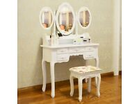 White Dressing Table White Dressing Tablewith Stool, 7 Drawers and 3 Oval Mirror