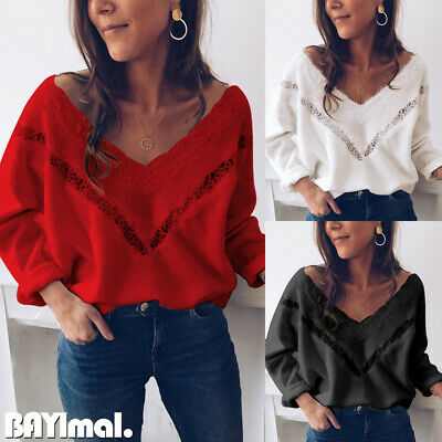 Women Lace Knitted V Neck Sweater Ladies Casual Loose Plain Jumper Pullover Tops