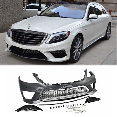 For 14-17 W222 S Class Sedan Front Bumper Fascia Mercedes Black Trim S63 Style