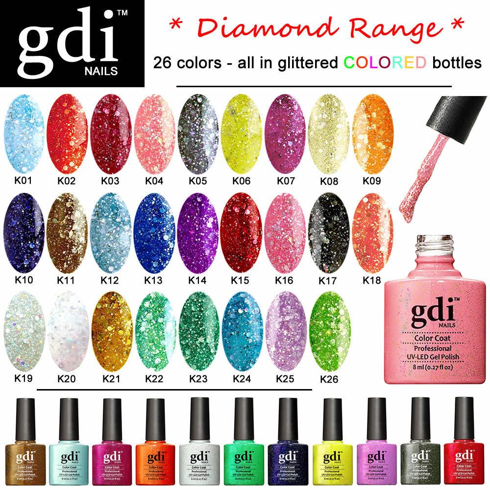 GDI NAILS - DIAMOND GLITTERS UV LED SOAK OFF GEL NAIL POLISH - UK SELLER